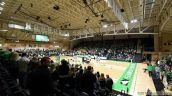 September 26, 2018: The North Dakota State University Bison meet the University of North Dakota Fighting Hawks in Summit League women's volleyball at the Betty Engelstad Sioux Center in Grand Forks, North Dakota. North Dakota wins 3-2 over North Dakota State. Russell Hons