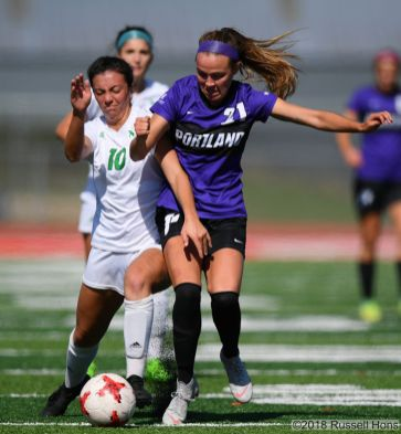 Sepember 21, 2018: A NCAA Division 1 soccer game between the University of North Dakota Fighting Hawks and the University of Portland Pilots at East Grand Forks Senior High School in East Grand Forks, MN. Portland won 1-0. Russell Hons