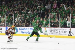 October 27, 2018 NCAA men's US Hockey Hall of Fame game between the Minnesota Golden Gophers and the University of North Dakota Fighting Hawks at Orleans Arena in Las Vegas, NV. North Dakota defeated Minnesota 3-1. Photo by Russell Hons