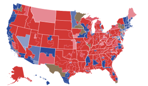 Blue islands in a vast landscape of Red America.