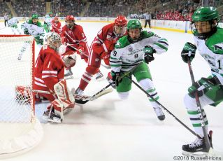 November 2, 2018 NCAA men's college hockey game between the Wisconsin Badgers and the University of North Dakota Fighting Hawks at Ralph Engelstad Arena in Grand Forks, ND. North Dakota won 5-0. Photo by Russell Hons