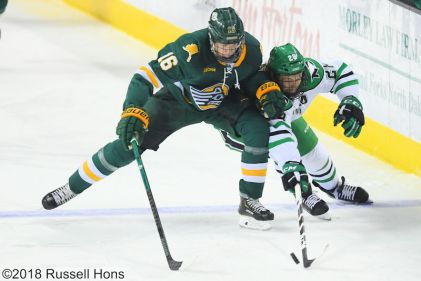 November 23, 2018 A NCAA men's college hockey game between the Alaska Anchorage Seawolves and the University of North Dakota Fighting Hawks at Ralph Engelstad Arena in Grand Forks, ND. North Dakota won 5-2. Photo by Russell Hons