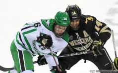 November 17, 2018 A NCAA men's college hockey game between the Western Michigan Broncos and the University of North Dakota Fighting Hawks at Ralph Engelstad Arena in Grand Forks, ND. Photo by Russell Hons