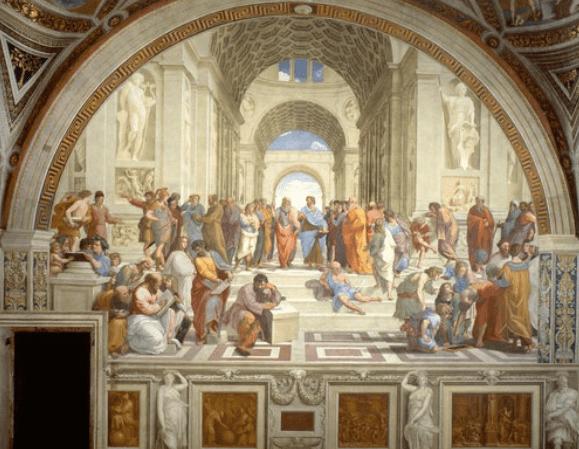"""""""The School of Athens"""" by Raffaello Sanzio da Urbino via Wikimedia."""