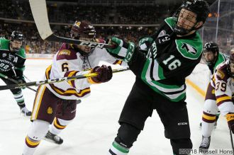 December 1, 2018 NCAA men's ice hockey game between the University of North Dakota Fighting Hawks and the Minnesota Duluth Bulldogs at Amsoil Arena in Duluth, MN. North Dakota won 2-1. Photo by Russell Hons