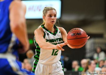 December 12, 2018: An exhibition basketball game between Mayville State University Comets and the University of North Dakota Fighting Hawks at Betty Engelstad Sioux Center in Grand Forks, ND. Photo by Russell Hons