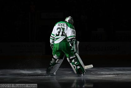 December 7, 2018 a NCAA men's college hockey game between the Denver Pioneers and the University of North Dakota Fighting Hawks at Ralph Engelstad Arena in Grand Forks, ND. North Dakota won 4-1. Photo by Russell Hons