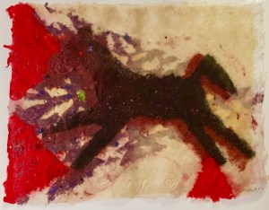 Vermillion Black Hills: LAO TZU PONY, Den Navrat, 1.8.98, mixed-media handmade paper painting, 9.5 inches by 11.5 inches,.