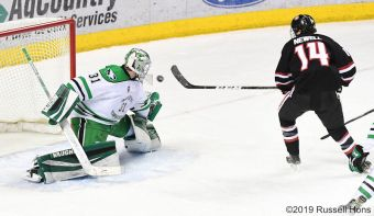 January 26, 2019 a NCAA men's college hockey game between the St. Cloud State Huskies and the University of North Dakota Fighting Hawks at Ralph Engelstad Arena in Grand Forks, ND. Photo by Russell Hons