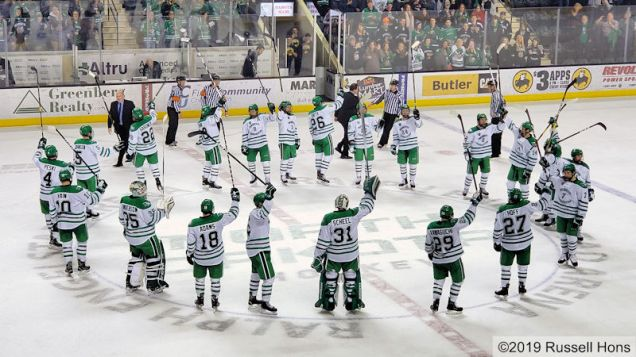 January 12, 2019 a NCAA men's college hockey game between Colorado College and the University of North Dakota Fighting Hawks at Ralph Engelstad Arena in Grand Forks, ND. North Dakota won 3-2 in overtime. Photo by Russell Hons