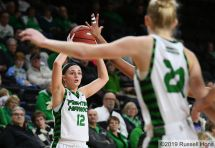 January , 2019: a NCAA basketball game between University of Omaha and the University of North Dakota Fighting Hawks at Betty Engelstad Sioux Center in Grand Forks, ND. Photo by Russell Hons