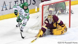 February 23, 2019 NCAA men's ice hockey game between the Minnesota Duluth Bulldogs and the University of North Dakota Fighting Hawks at Ralph Engelstad Arena in Grand Forks, ND. Photo by Russell Hons