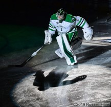February 22, 2019 NCAA men's ice hockey game between the Minnesota Duluth Bulldogs and the University of North Dakota Fighting Hawks at Ralph Engelstad Arena in Grand Forks, ND. Photo by Russell Hons