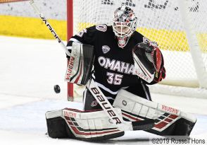 March 9, 2019 NCAA men's ice hockey game between the University of Nebraska-Omaha Mavericks and the University of North Dakota Fighting Hawks at Ralph Engelstad Arena in Grand Forks, ND. Photo by Russell Hons
