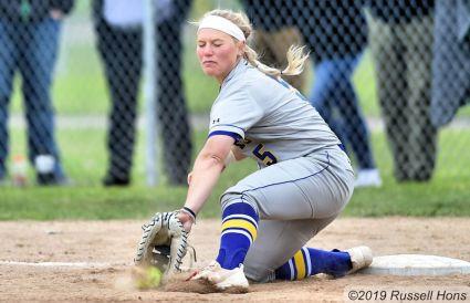 April 28, 2019 University of North Dakota softball played South Dakota State University in Grand Forks, ND. UND won 7-1. Photo by Russell Hons