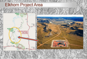 Here's a look at the Elkhorn Project and one of NP Resources' wells, pretty darn close to the Little Missouri State Scenic River, well inside the Industrial Commission's attempt to keep wells two miles from the river. Looks like a spill could run right down that road into the river. Thanks to NP Resources for the use of their graphic.