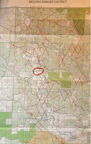 A map of NP Resources Elkhorn Project area. The site of the proposed new bridge across the Little Missouri River on the Short Ranch is circled.