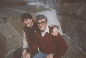 With Dad in the 1980s at the Fort Worth (Texas) Water Gardens.