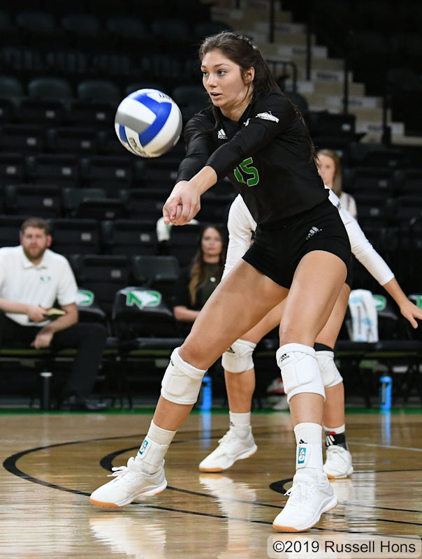 Grand Forks, ND September 20, 2019 Akron vs University of North Dakota Volleyball. Photo by Russell Hons