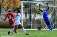 October 24, 2019: A Summit League women's soccer game between the University of Denver Pioneers and the University of North Dakota Fighting Hawks at Bronson Field in Grand Forks, ND. Photo by Russell Hons