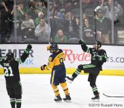 October 11, 2019 a NCAA men's college hockey game between the Canisius Golden Griffins and the University of North Dakota Fighting Hawks at Ralph Engelstad Arena in Grand Forks, ND. North Dakota won 5-0. Photo by Russell Hons