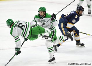 October 12, 2019 A NCAA men's college hockey game between the Canisius Golden Griffins and the University of North Dakota Fighting Hawks at Ralph Engelstad Arena in Grand Forks, ND. UND won 8-1 Photo by Russell Hons