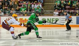 November 28, 2019 a NCAA men's college hockey game between the University of North Dakota Fighting Hawks and the Minnesota Golden Gophers at Mariucci Arena in Minneapolis, MN. North Dakota won 9-3. Photo by Russell Hons