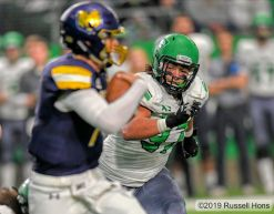November 16, 2019: a NCAA FCS football game between the Northern Colorado Bears and the University of North Dakota Fighting Hawks at the Alerus Center, Grand Forks, North Dakota. North Dakota won 45-38. Photo by Russell Hons
