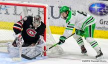 November 22, 2019 a NCAA men's hockey game between the St. Cloud State Huskies and the University of North Dakota Fighting Hawks at Ralph Engelstad Arena in Grand Forks, ND. North Dakota won 4-2. Photo by Russell Hons
