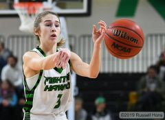 December 18, 2019 The University of North Dakota Fighting Hawks take on Mayville State University in an exhibition NCAA basketball game at the Betty Engelstad Sioux Center in Grand Forks, ND. North Dakota won 83-52. Russell Hons