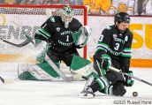 January 25, 2020 A NCAA men's ice hockey game between the University of North Dakota Fighting Hawks and the Minnesota Duluth Bulldogs at Amsoil Arena in Duluth, MN. North Dakota won 3-2. Photo by Russell Hons