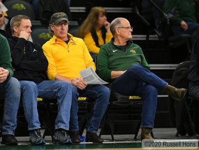 January 19, 2020: North Dakota Governor Doug Bergum watches a NCAA men's basketball game between the University of North Dakota Fighting Hawks and the North Dakota State Bison at the Scheels Center, Fargo, ND. Photo by Russell Hons