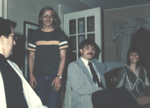 Here's a photo Clay took of four of his friends at his mom and dad's house at his 18th birthday party, I think, or maybe on his high school graduation night. Either way, it was 1973, 47 years ago, for sure. From left, that's the late, great Bill Douthit, Dickinson Press circulation manager, in profile; me, Dickinson Press reporter Mike Jacobs and his wife, Suezette Bieri. God, we were young.