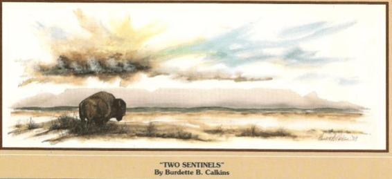 "Burt Calkins' ""Two Sentinels,"" the inspiration for North Dakota's license plate since 1992."
