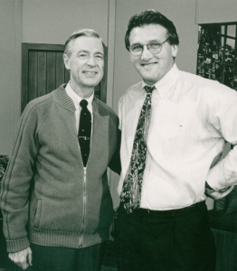 """With Fred on the set of """"Mister Rogers' Neighborhood"""" in 1995."""