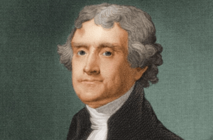 This portrait of President Jefferson in 1805 was painted by Gilbert Stuart.