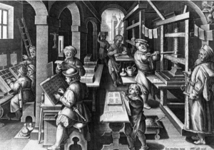 Gutenberg and his moveable type printing press.