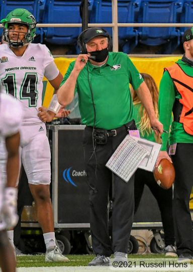 March 20, 2021: a NCAA FCS football game between the University of North Dakota Fighting Hawks and the North Dakota State Bison at the Fargo Dome, Fargo, North Dakota. NDSU won 34-13. Photo by Russell Hons