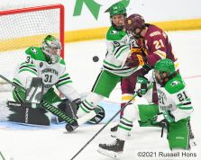 March 27, 2021 The championship game of the NCAA men's hockey Midwest Regional between the University of Minnesota - Duluth Bulldogs and the University of North Dakota Fighting Hawks at Scheels Arena, Fargo, ND. The game went to 5 overtimes and is the longest game every played in NCAA tournament play. Minnesota Duluth won 3-2. Photo by Russell Hons