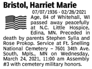 Harriet's brief obituary in the Star Tribune.