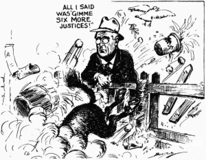 A political cartoon from 1937 illustrates the dust up around Franklin Roosevelt's effort to raise the number of Supreme Court justices in order to protect key provisions of the New Deal.