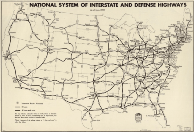 A 1958 map of the Interstate Highway System. The enabling legislation, the Federal-Aid Highway Act of 1956, was signed two years earlier by President Dwight D. Eisenhower. (Library of Congress/American Automobile Association)