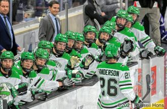 during an NCAA non-conference hockey game between the Niagara Purple Eagles and the University of North Dakota Fighting Hawks at Ralph Engelstad Arena in Grand Forks, ND on Friday, October 8 2021. North Dakota won 6-2. Russell Hons