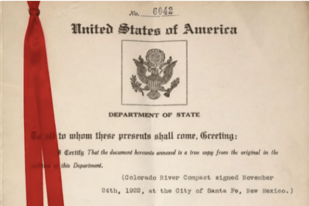 """Between January and November, 1922 multiple meetings culminated in the Colorado River Compact. Over the course of its legal history, the various compacts, agreements, and legal decisions that have been placed on the Colorado River have come to be known as """"the Law of the River.""""(Utah Division of Archives and Records)"""