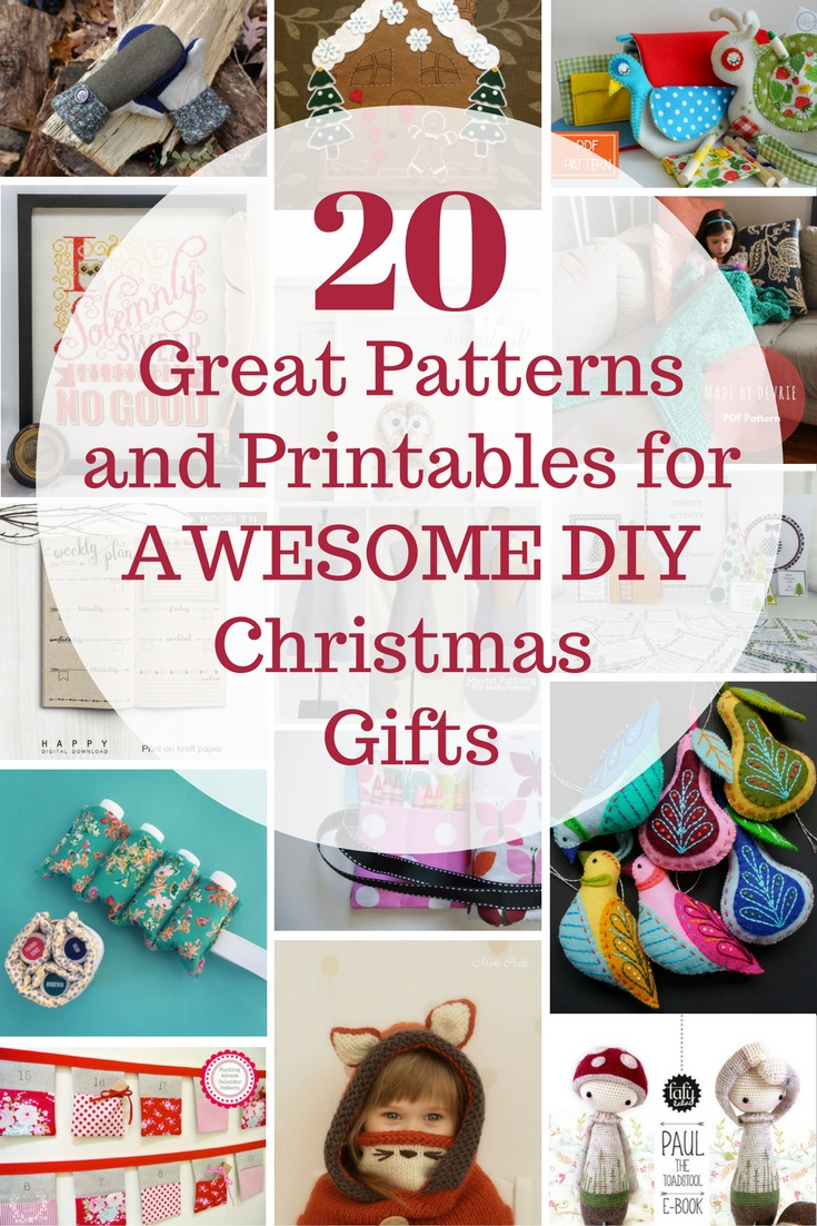A list for all the last-minute, DIY Christmas gift makers out there. Patterns and printables featuring a range of crafts for a range of skill levels.