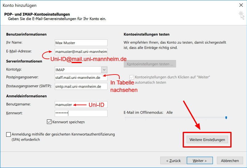 Outlook Konfiguration | Universität Mannheim