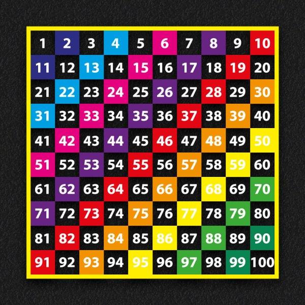 1 100 Grid 2 1 - 1 - 100 Grid Multi Coloured 2