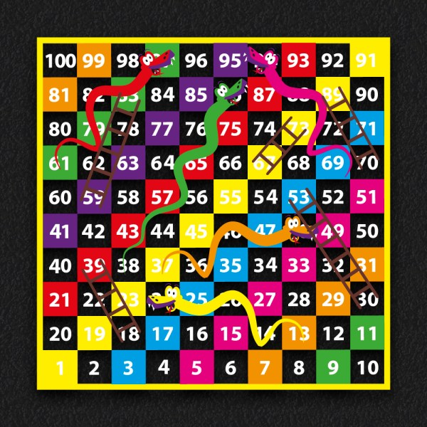 1 100 Snakes and Ladders BLOCK 2 - 1-100 Snakes & Ladders