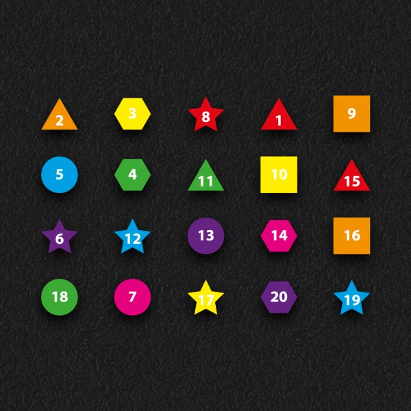 1 20 Number Shapes - Numbered Shapes 1 - 20
