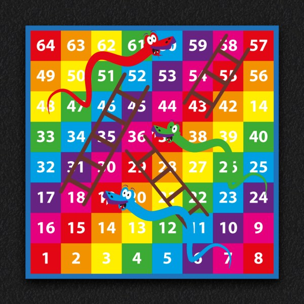 1 64 Snakes and Ladders SOLID 2 - 1-64 Snakes & Ladders